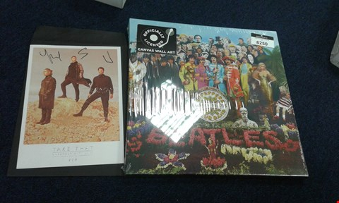 Lot 8250 BEATLES SGT PEPPER CANVAS AND TAKE THAT SIGNED GREATEST HITS TOUR PICTURE