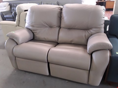 Lot 132 QUALITY BRITISH DESIGNER HARDWOOD FRAMED PUTTY LEATHER POWER RECLINING TWO SEATER SOFA