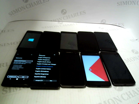 Lot 3378 LOT OF 10 ASSORTED SMARTPHONES; VARIOUS MAKES AND GRADES