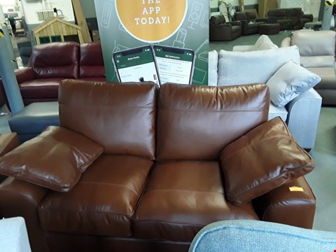 Lot 161 QUALITY BRITISH DESIGNER BROWN LEATHER 2 SEATER SOFA