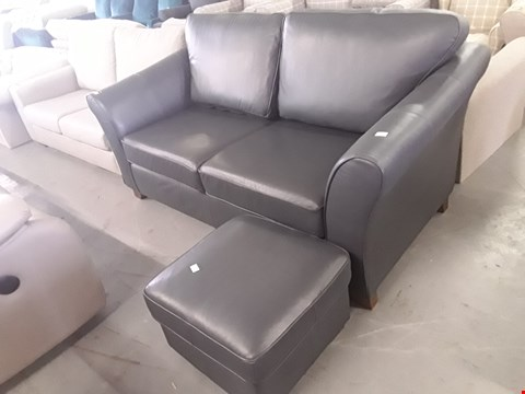 Lot 72 QUALITY BRITISH DESIGNER ANTHRACITE LEATHER 3 SEATER SOFA AND ACCOMPANYING FOOTSTOOL
