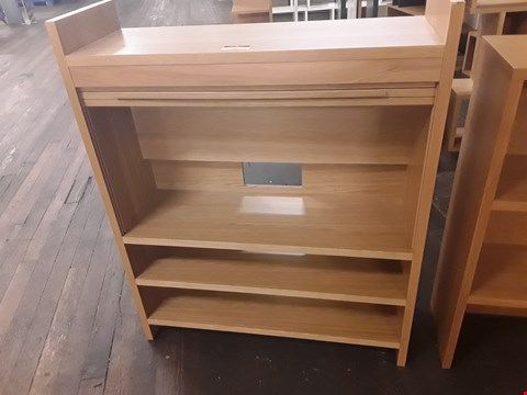 Lot 30 DESIGNER TERENCE CONRAN OAK ROLL FRONT WALL / ENTERTAINMENT UNIT WITH OPEN SHELVES BELOW W90 × D30 × H110