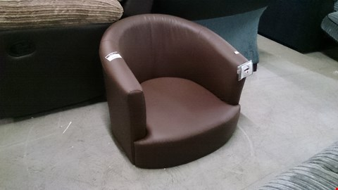 Lot 1211 DESIGNER BROWN LEATHER TUB CHAIR
