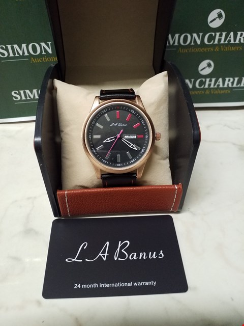 Lot 4562 L. A BANUS ROSE GOLD EFFECT CASE WATCH WITH BLACK LEATHER WRIST STRAP