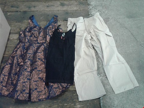 Lot 219 BOX OF APPROXIMATELY 16 CLOTHING ITEMS TO INCLUDE BLACK TOP, SAND COLOURED TROUSERS AND BLUE/ METALLIC ORANGE EFFECT FLORAL PATTERN DRESS - VARIOUS SIZES