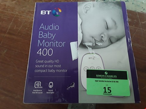 Lot 15 BOXED BT VIDEO BABY MONITOR 400 LOW AUDIO RRP £40