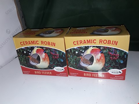 Lot 1121 2 X CERAMIC ROBIN BIRD FEEDERS