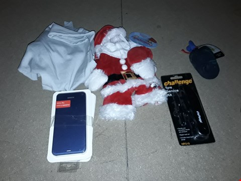Lot 2512 LOT OF APPROXIMATELY 8 ASSORTED ITEMS TO INCLUDE 3 PHONE CASES, CHALLENGE TYRE SERVICE KIT, SANTA PET COSTUME ETC