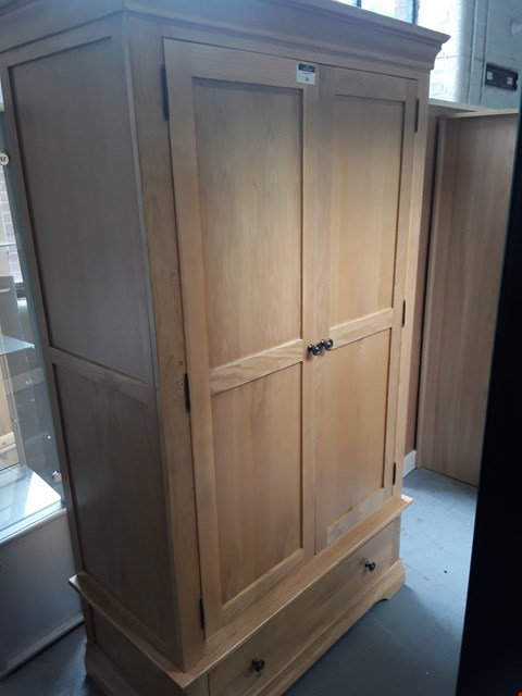 Lot 94 DESIGNER NORMANDY OAK 2 DOOR WARDROBE ON SINGLE DRAWER BASE