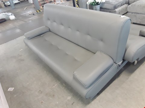 Lot 68 DESIGNER GREY FAUX LEATHER CLICK-CLACK SOFA BED