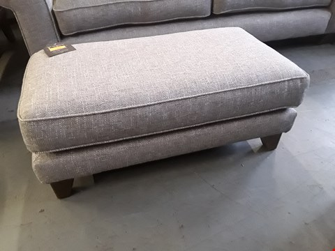 Lot 265 QUALITY BRITISH DESIGNER PENELOPE RECTANGULAR FOOTSTOOL UPHOLSTERED IN GREY URBAN TWEED FABRIC RRP £379