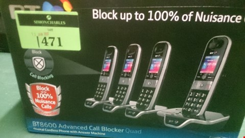 Lot 1471 BT 8600 ADVANCED CALL BLOCKER QUAD DIGITAL CORDLESS HOME PHONE WITH ANSWERPHONE  RRP £159.99