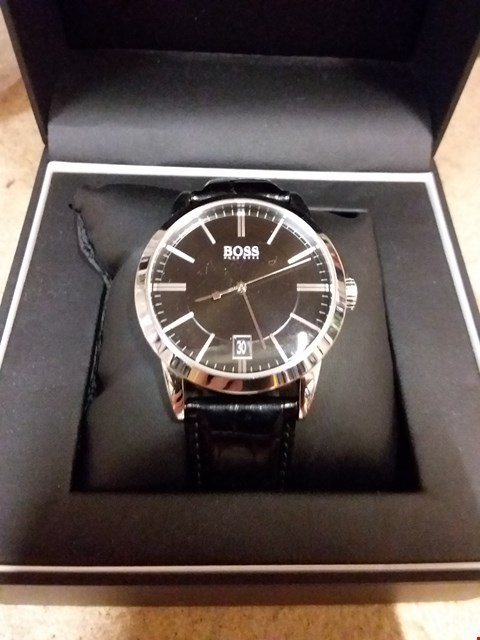 b26bd07e2 Lot 11089 BOXED HUGO BOSS BLACK AND SILVER DIAL WATCH