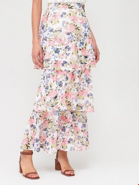 Lot 3730 BRAND NEW V BY VERY TIERED MIDI SKIRT - FLORAL PRINT SIZE UK 8