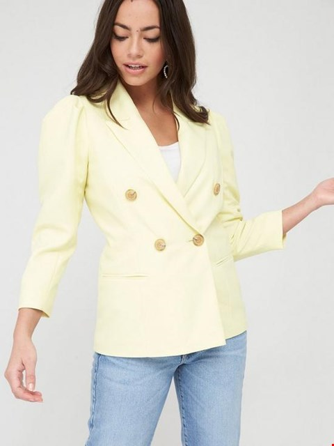 Lot 3723 BRAND NEW RIVER ISLAND PUFF SLEEVE DOUBLE BREASTED BLAZER - YELLOW UK SIZE 14