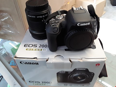 Lot 142 CANON EOS 200D SLR CAMERA WITH EF-S 18-55 III KIT RRP £850.00