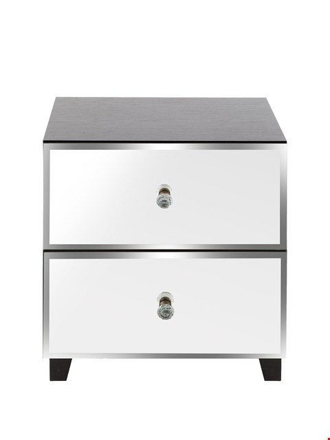 Lot 1048 BOXED GRADE 1 BELLAGIO 2 DRAWER BEDSIDE - CHEST WHITE/MIRROR (1 BOX)  RRP £109