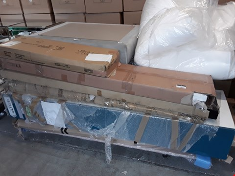 Lot 1403 PALLET OF ASSORTED FLAT PACK ITEMS TO INCLUDE HEADBOARD, WARDROBE AND BED PARTS