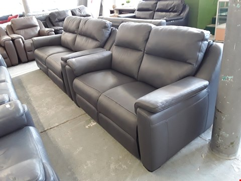 Lot 100 QUALITY ITALIAN DESIGNER ANTHRACITE LEATHER 2 AND S SEATER SOFAS