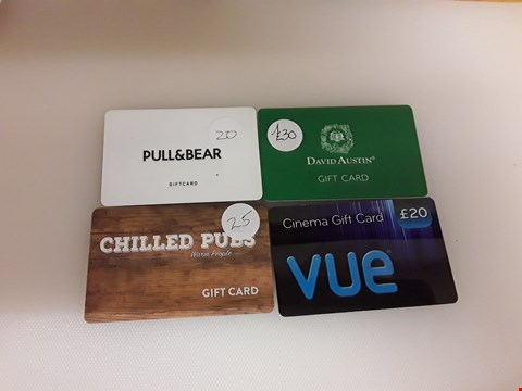 Lot 46 4 ASSORTED GIFT CARDS TO INCLUDE PULL & BEAR, DAVID AUSTIN, CHILLED PUBS AND BUE CINEMA TOTAL VALUE £95