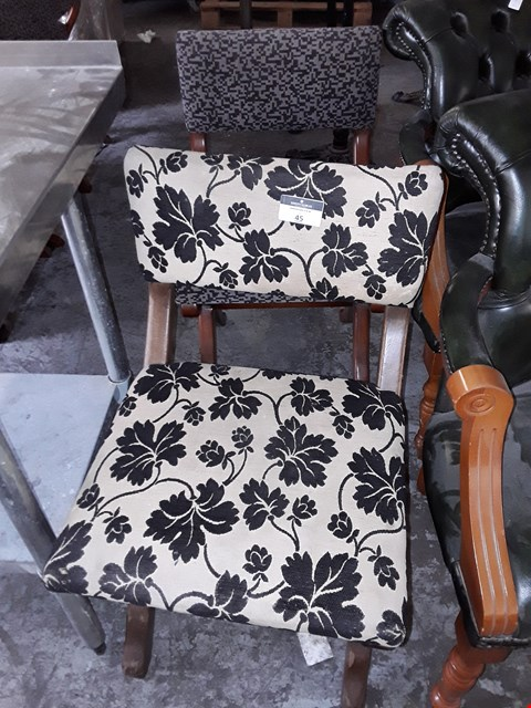 Lot 45 LOT OF 2 ASSORTED PATTERNED DINING CHAIRS