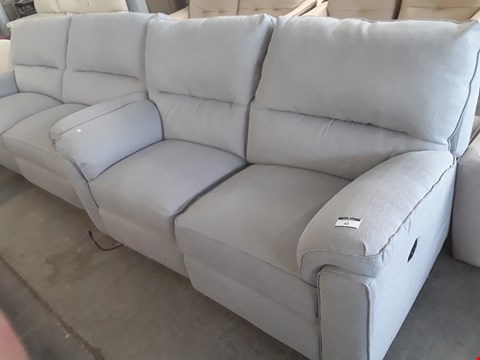 Lot 48 QUALITY BRITISH DESIGNER NATURAL FABRIC POWER RECLINING THREE & TWO SEATER SOFAS