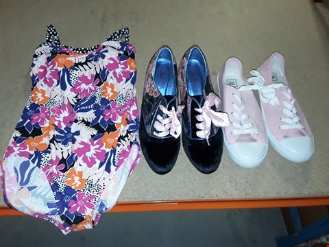 Lot 9357 4 BOXES OF APPROXIMATELY 87 ASSORTED CLOTHING AND FOOTWEAR ITEMS INCLUDING PINK PUMPS, FLORAL SHOE BOOT AND FLORAL PRINT SWIMSUIT- VARIOUS SIZES