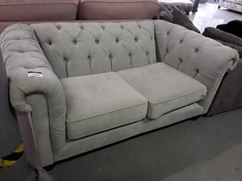 Lot 2040 DESIGNER GREY FABRIC CHESTERFIELD STYLE TWO SEATER SOFA