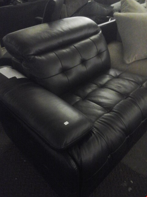 Lot 86 DESIGNER BLACK FAUX LEATHER RECLINER SOFA SECTION