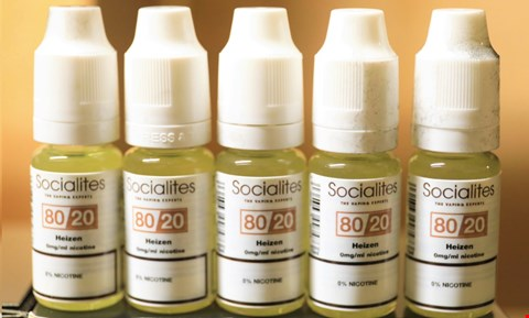 Lot 11115 BOX OF APPROXIMATELY 25 X 10ML HEIZEN FLAVOUR SOCIALITES E-LIQUID BOTTLES RRP £100