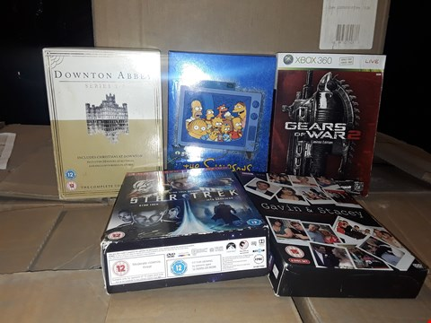 Lot 4140 JOB LOT OF DVDS, VIDEO GAMES TO INCLUDE GEARS OF WAR, THE SIMPSONS, GAVIN AND STACEY (4 BOXES)