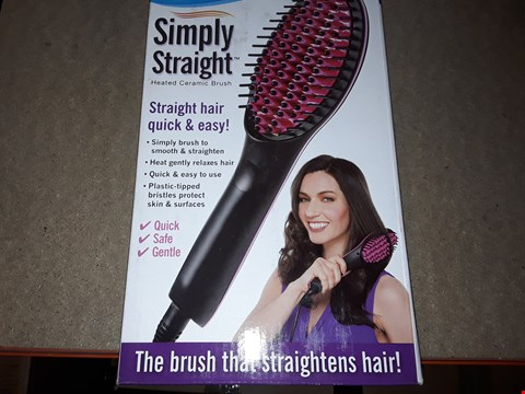 Lot 2104 BOX OF APPROXIMATELY 31 BRAND NEW SIMPLY STRAIGHT HEATED CERAMIC BRUSH