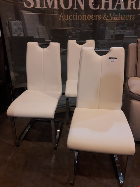 Lot 9053 SET OF THREE DESIGNER WHITE FAUX LEATHER & CHROME DINING CHAIRS