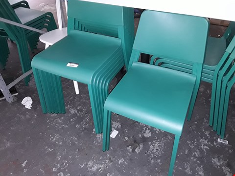 Lot 8056 LOT OF APPROXIMATELY 8 GREEN DINING CHAIRS