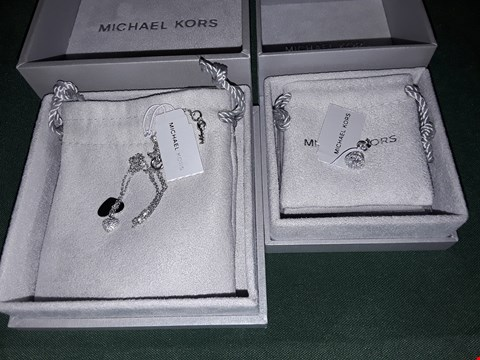 Lot 4251 MICHAEL KORS SILVER AND DIAMOND STUD + SILVER HEART NECKLACE