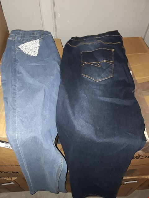 Lot 355 BOX OF APPROXIMATELY 15 ASSORTED CLOTHING ITEMS TO INCLUDE VINTAGE INDIGO STRAIGHT LEG JEANS AND DENIM FLORAL JEANS