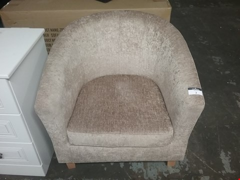 Lot 2 DESIGNER BEIGE FABRIC TUB CHAIR