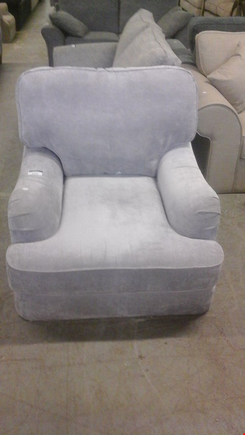 Lot 1257 DESIGNER SILVER FABRIC ARMCHAIR