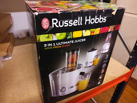 Lot 20 BOXED RUSSELL HOBBS 3 IN 1 ULTIMATE JUICER
