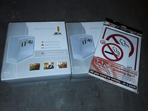 Lot 749 LOT OF 2 WALL-MOUNTED STAINLESS STEEL CIGARETTE DISPOSAL BINS WITH SIGNAGE