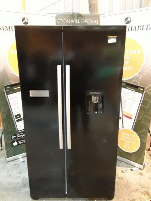Lot 9041 HISENSE RS741N4WB11 90CM WIDE, TOTAL NO FROST, AMERICAN-STYLE FRIDGE FREEZER WITH NON-PLUMBED WATER DISPENSER - BLACK RRP £799.00