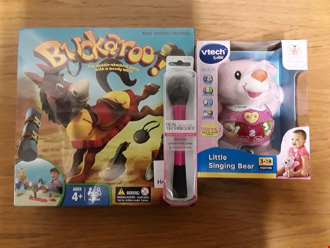Lot 7125 BOX OF 9 ASSORTED BRAND NEW ITEMS TO INCLUDE REAL TECHNIQUES BLUSH BRUSH, BUCKAROO! SADDLE-STACKING GAME, VTECH BABY LITTLE SINGING BEAR RRP £198