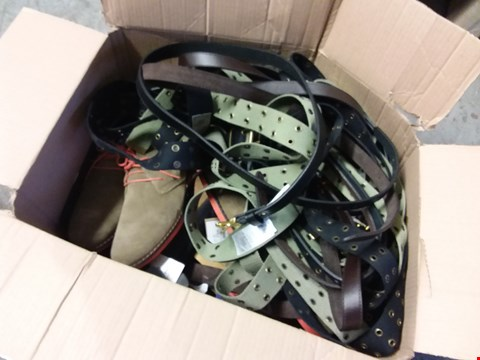 Lot 344 BOX OF APPROXIMATELY 27 ASSORRTED SHOES AND BELTS
