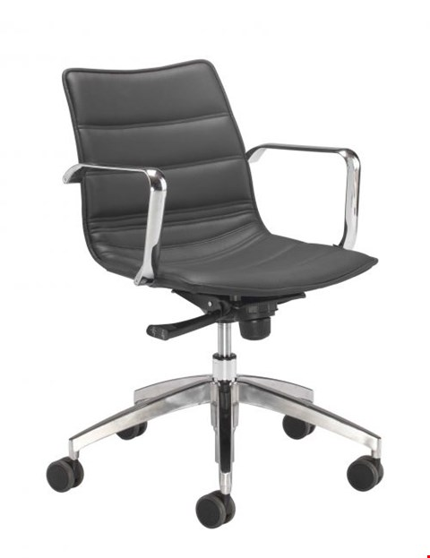 Lot 15085 BRAND NEW BOXED MILAN SWIVEL CHAIR WITH ALUMINIUM BASE