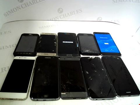 Lot 3375 LOT OF 10 ASSORTED SMARTPHONES; VARIOUS MAKES AND GRADES