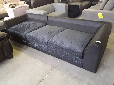 Lot 39 TWO DENVER BLACK FAUX LEATHER SECTIONS, INCLUDING METAL ACTION SOFABED SECTION