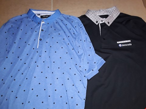Lot 9332 3 BOXES OF APPROXIMATELY 76 ASSORTED CLOTHING ITEMS TO INCLUDE CHLOE SKINNY JEANS, LAMBRETTA PRINT COLLAR POLO SHIRT, PRINTED POLO SHIRT
