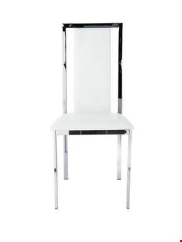 Lot 2049 BOXED GRADE 1 PAIR OF WHITE FAUX LEATHER ATLANTIC CHROME CHAIRS (1 BOX) RRP £189