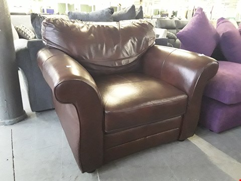 Lot 48 DESIGNER CHESTNUT LEATHER ARMCHAIR