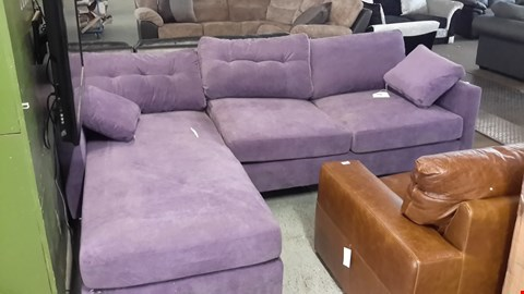 Lot 3 DESIGNER PURPLE FABRIC CHAISE SOFA